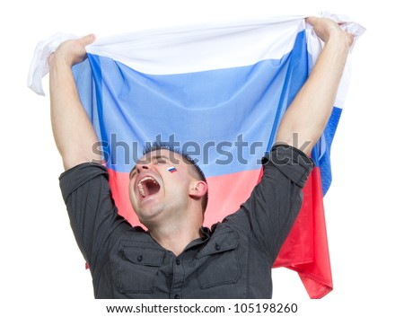 Happy russian soccer fan with russian national flag shouting or yelling cheer for the team on euro 2012 on a white bachground - stock photo
