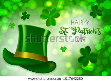 Happy Saint Patricks Day Background with Clover Leaves.  Illustration