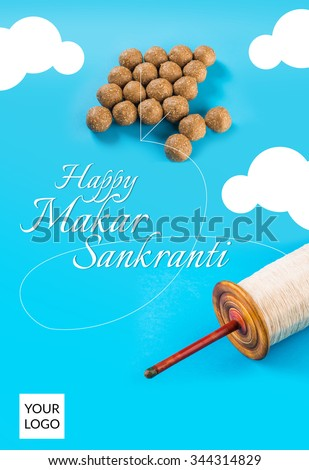 Happy sankranti sankranti greeting card indian stock photo edit now happy sankranti sankranti greeting card indian festival with tilgul laddu or laddoo as kite m4hsunfo