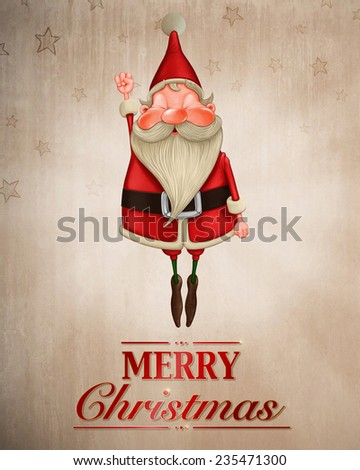 Happy Santa Claus flies for greeting card - stock photo