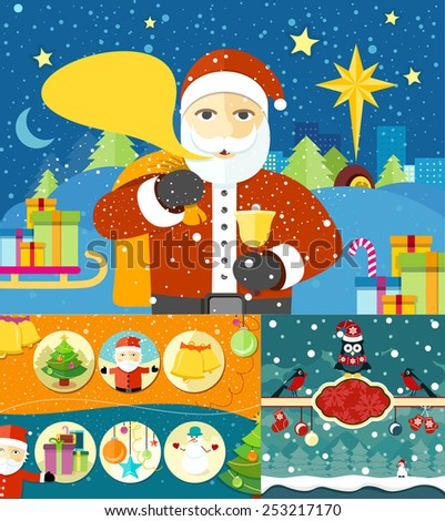 Happy Santa Claus profession. Santa Claus with bag of presents and bell near to sled in town. Christmas banners set and New Year icons bell gloves balls tree and snowman. Raster version - stock photo