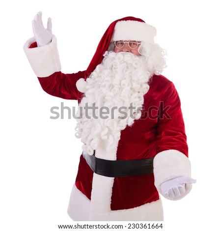 happy Santa Claus shows gesture. Isolated on white background - stock photo