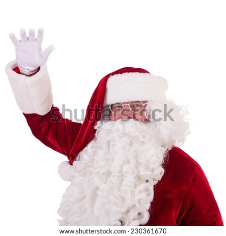 happy Santa Claus shows gesture. Isolated on white background