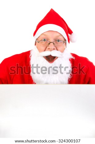 Happy Santa Claus with Blank Board on the White Background
