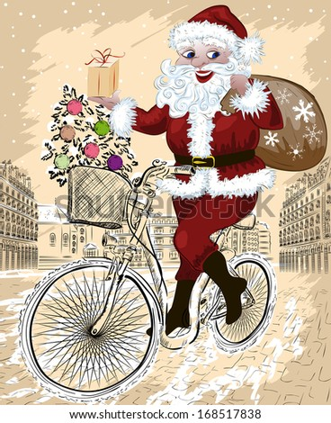 happy Santa Claus with Christmas tree and gifts riding bike. Raster version - stock photo