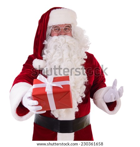 happy Santa Claus with gift box. Isolated on white background - stock photo