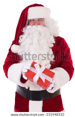 happy Santa Claus with giftboxes. Isolated on white background - stock photo