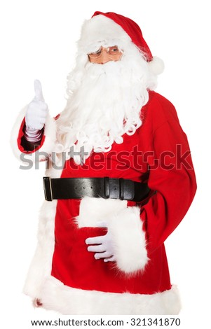 Happy Santa Claus with ok sign  - stock photo