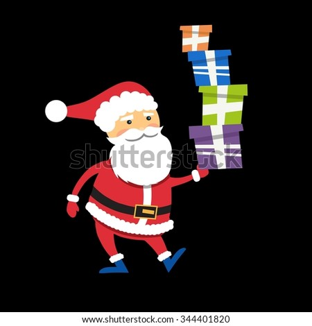 Happy Santa Claus with xmas gift boxes isolated on black - stock photo