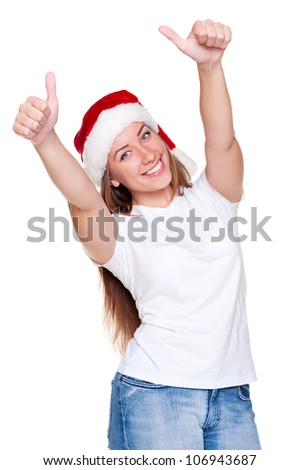 happy santa woman in white t-shirt showing thumbs up. studio shot over white background