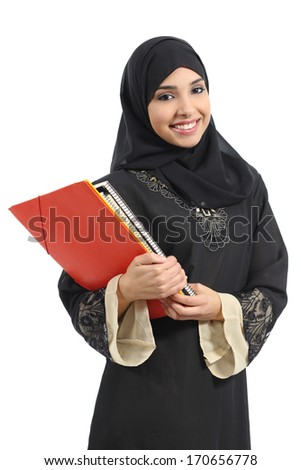 Happy saudi Arab student holding folders isolated on a white background           - stock photo