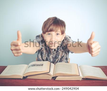 happy school boy - stock photo