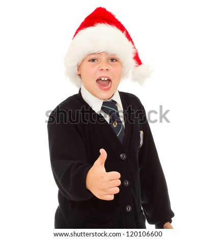 Happy school boy gesturing thumb up hand sign OK. Isolated on white background. - stock photo