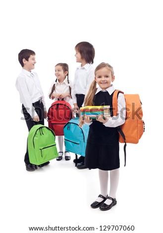 Happy school kids group  - isolated - stock photo