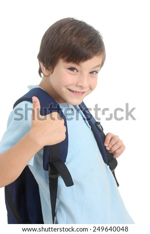 happy schoolboy on a white background - stock photo