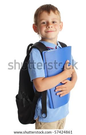 Happy schoolchild isolated on white - stock photo