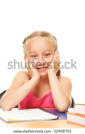 Happy schoolgirl - stock photo