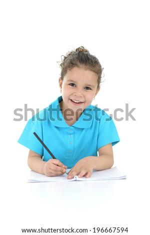 Happy Schoolgirl Doing Her Homework Isolated on White Background - stock photo