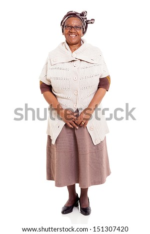 happy senior african woman isolated on white - stock photo