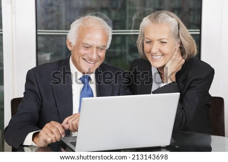 Happy senior business couple looking at laptop white sitting at table - stock photo