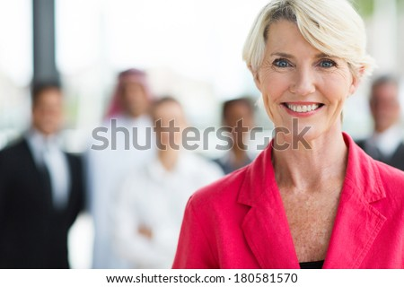 happy senior business woman close up - stock photo