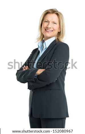 Happy Senior Businesswoman Isolated On White Background