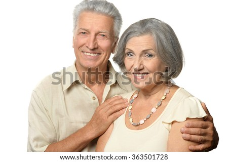 happy senior couple - stock photo