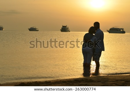 Happy senior couple at sea at sunset - stock photo