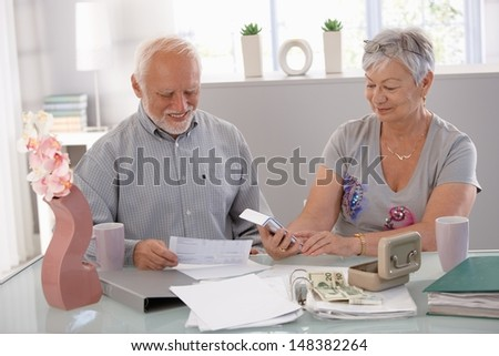 Happy senior couple calculating family budget at home. - stock photo