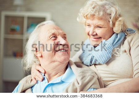 Happy senior couple embracing - stock photo