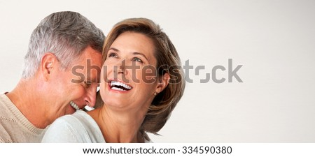 Happy senior couple faces. Elderly man and woman in love. - stock photo