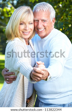 Happy senior couple having a fun together. - stock photo