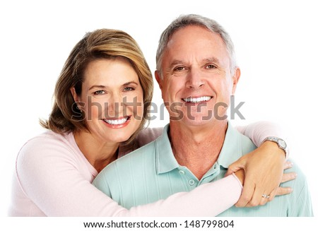 Happy senior couple in love. Isolated on white. - stock photo