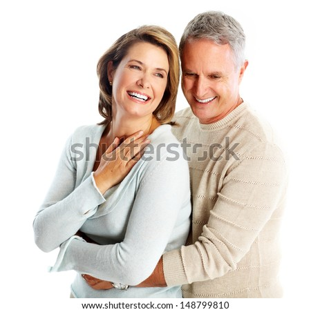 Happy senior couple in love. Isolated on white. - stock photo