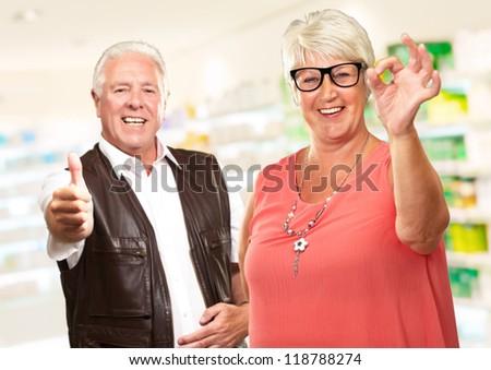 Happy Senior Couple, Indoor - stock photo