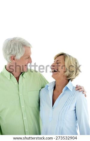 Happy senior couple. Isolated on white background. Copy space. - stock photo