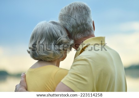 Happy senior couple near lake,back view - stock photo