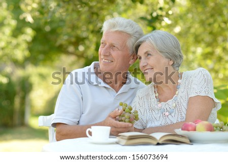 Happy senior couple sitting at table in summer park - stock photo