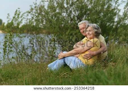Happy senior couple sitting in summer near lake during sunset,back view - stock photo