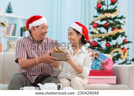 Happy senior couple swapping Christmas presents - stock photo