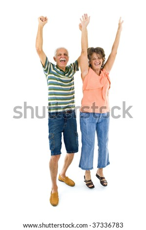 Happy Senior couple with the arms up . - stock photo