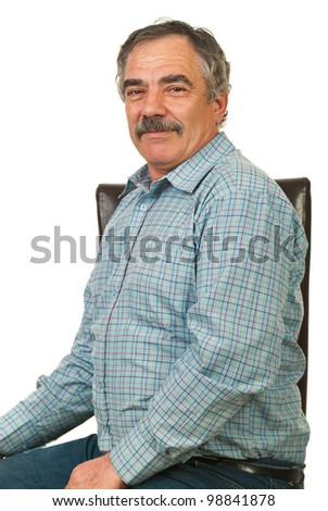Happy senior executive man sitting on chiar isolated on white background - stock photo