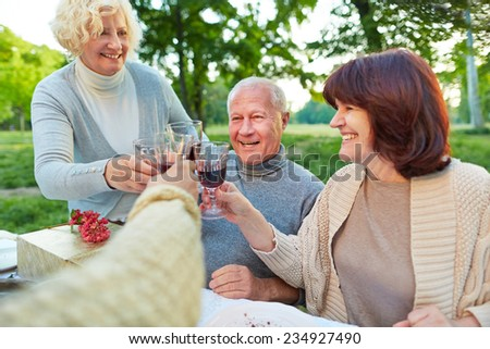 Happy senior friends cheering with glass of red wine at birthday party - stock photo