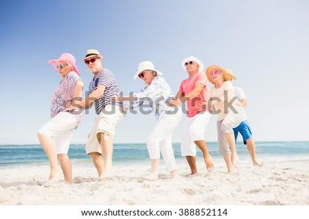 Happy senior friends dancing on the beach - stock photo