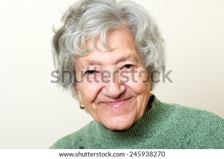 Happy senior lady portrait - stock photo