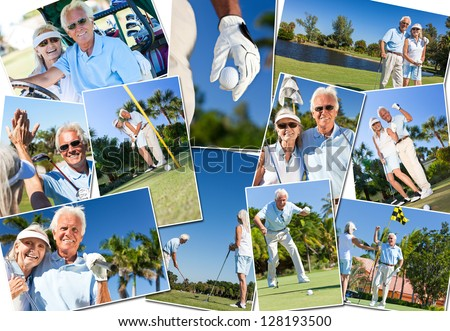 Happy senior man and woman couple together playing golf, driving buggy, putting and celebrating in the summer sunshine - stock photo