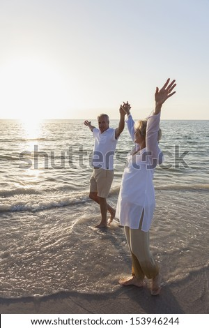 Happy senior man and woman couple walking and holding hands on a deserted tropical beach with bright clear blue sky - stock photo