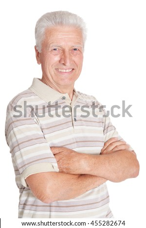 happy senior man in shirt