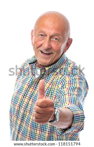happy senior man shows thumbs up isolated on white - stock photo