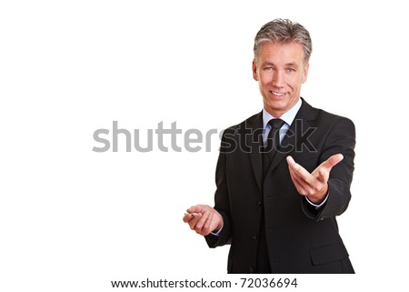 Happy senior manager holding a sales talk - stock photo